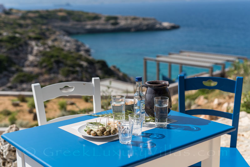 Aperitif with seaview at a modern luxury villa in Crete