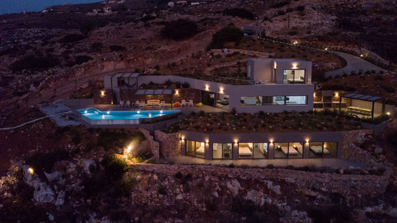 Night atmosphere at a modern luxury villa in Crete