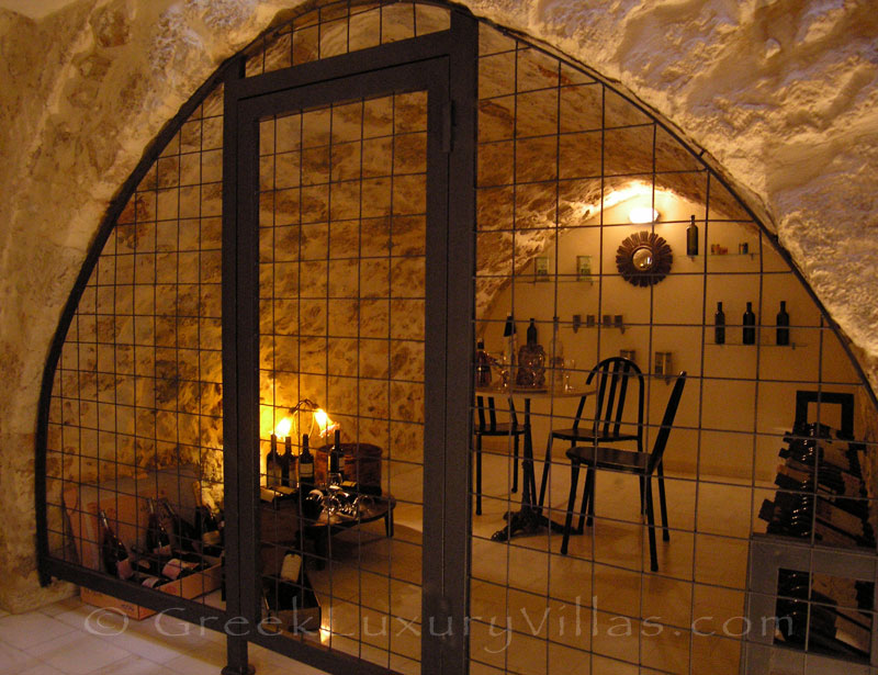The wine cellar of the exclusive historic villa in a traditional village of Crete