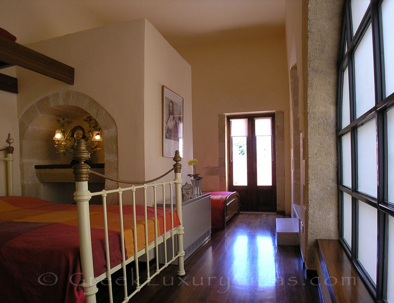 A triple room in an exclusive historic villa in a traditional village of Crete
