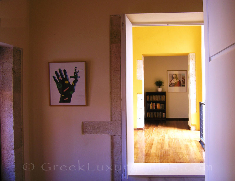 The corridor of an exclusive historic villa in a traditional village of Crete
