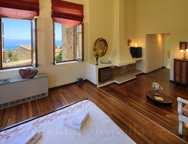 The suite of the exclusive historic villa in a traditional village of Crete