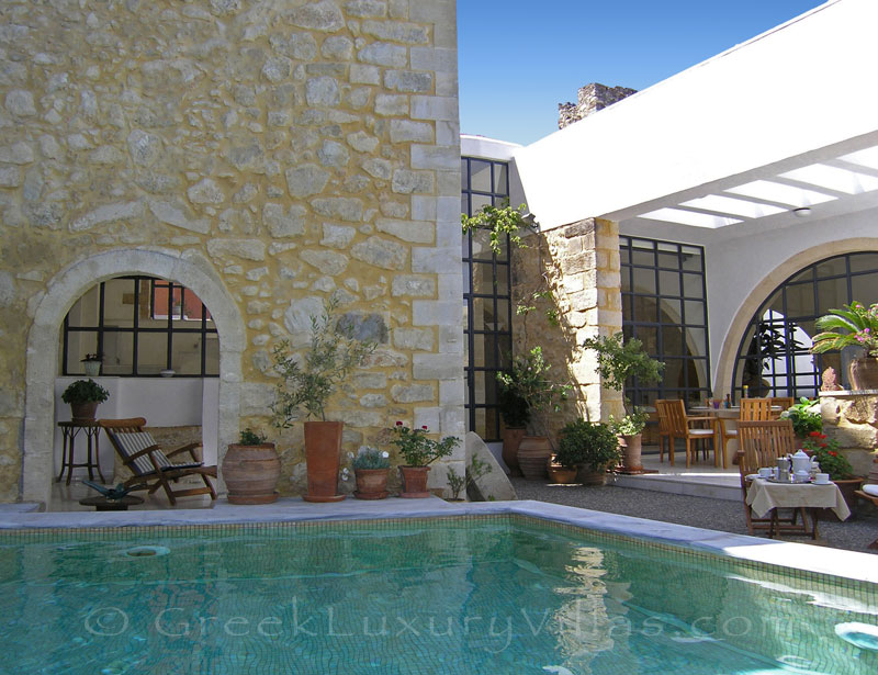 An exclusive historic villa with a pool in a traditional village in Crete