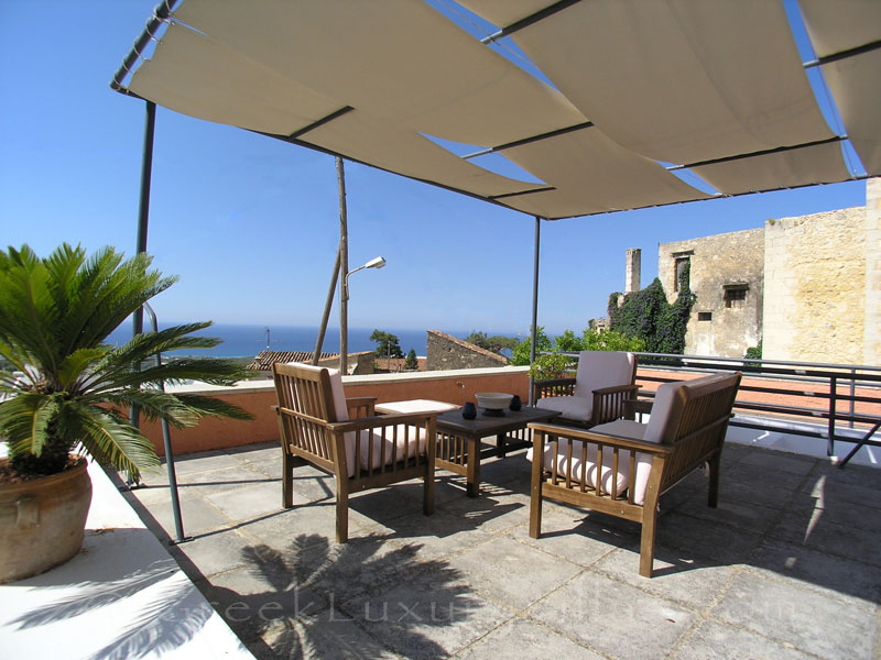 Roof terrace of the exclusive historic villa in a traditional village of Crete