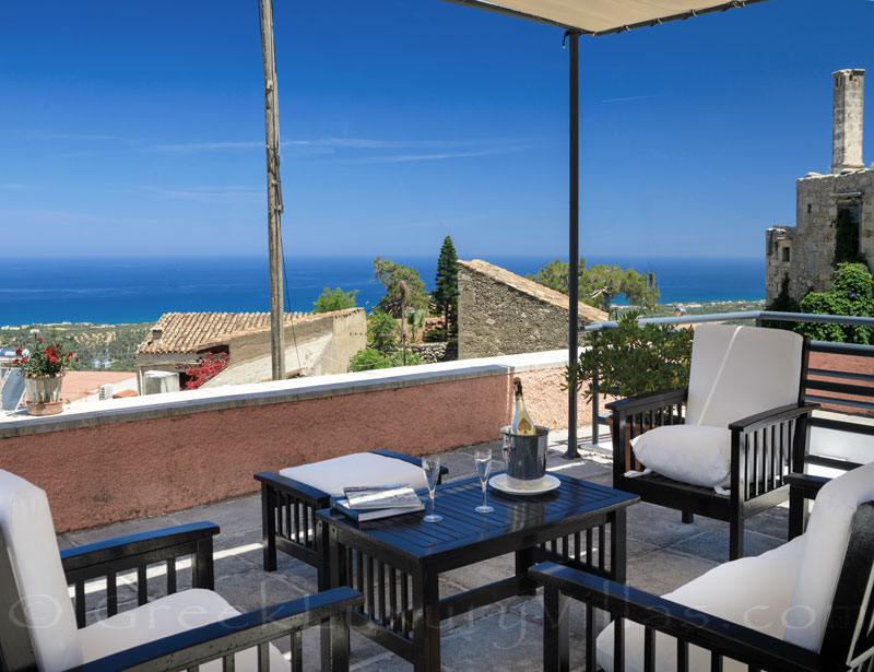 The roof terrace of the exclusive historic villa in a traditional village of Crete