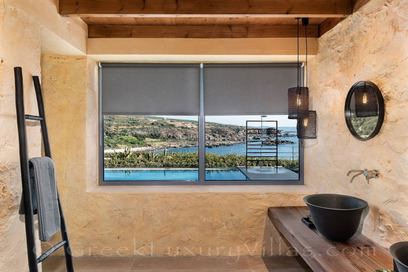 Bathroom sea view from seafront luxury villa with pool in Crete