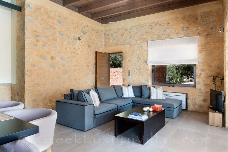 Lounge of seafront villa in Crete