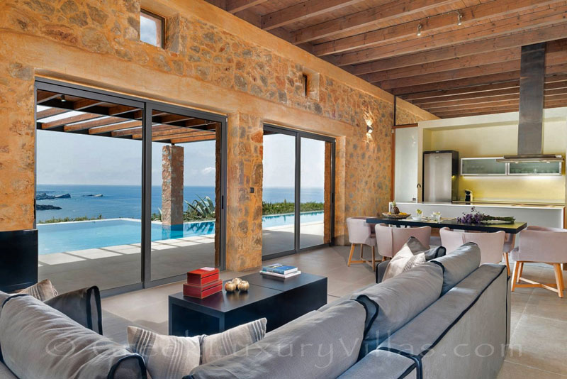 Lounge sea view of seafront villa with pool