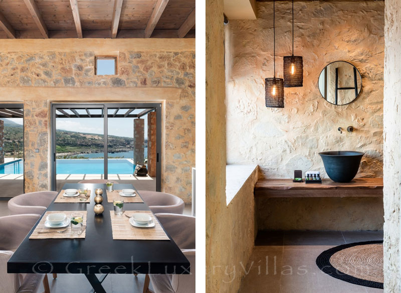Interior of seafront villa with pool in Crete