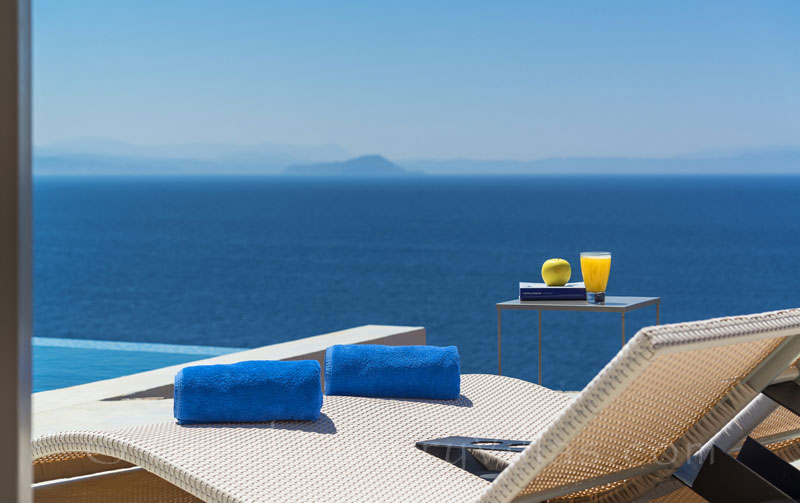 Veranda in the Cretan, modern, seafront luxury villa