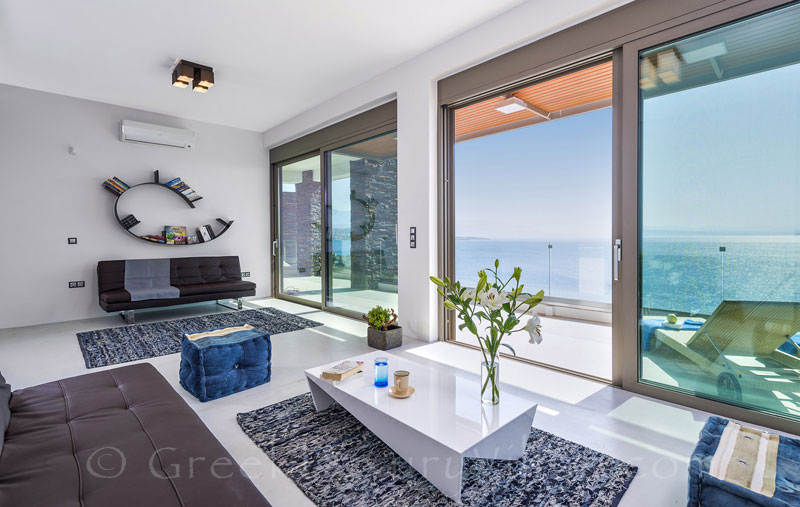 Seaview from the lounge of the modern luxury villa in Crete
