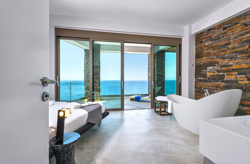 Seaview of the master bedroom of the modern luxury villa