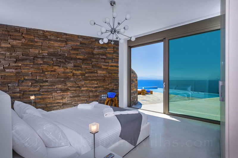 Seaview from the bedroom of the modern luxury villa