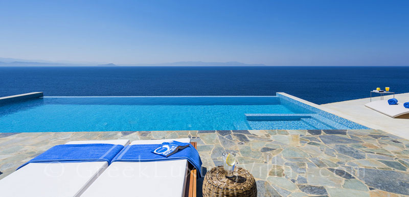 Seaview of the luxury villa with a pool