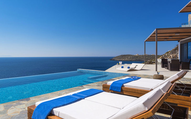 Seaview from the pool of the modern seafront luxury villa in Crete
