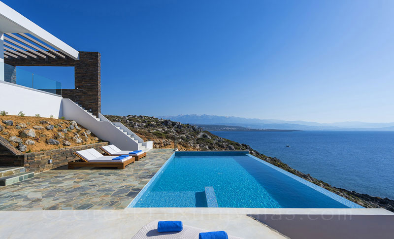 The view of the sea from the modern luxury villa in Crete
