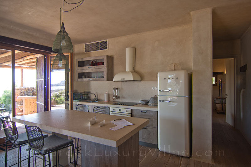Stylish kitchen in a beach house in Crete
