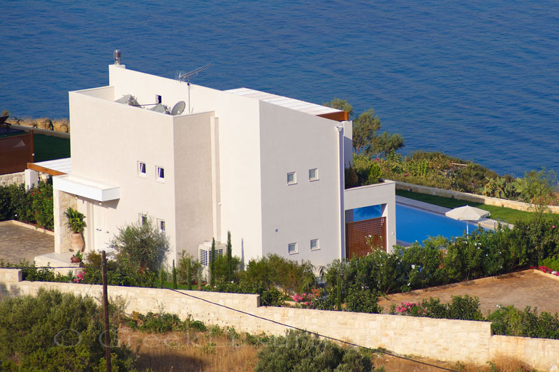 Typical island style seafront villa in Almyrida Crete