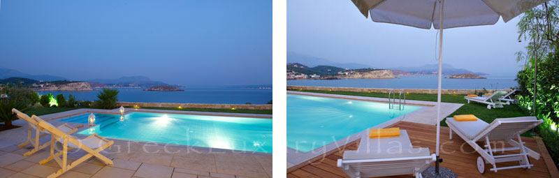 Luxury pool sea view of island style villa in Almyrida Crete