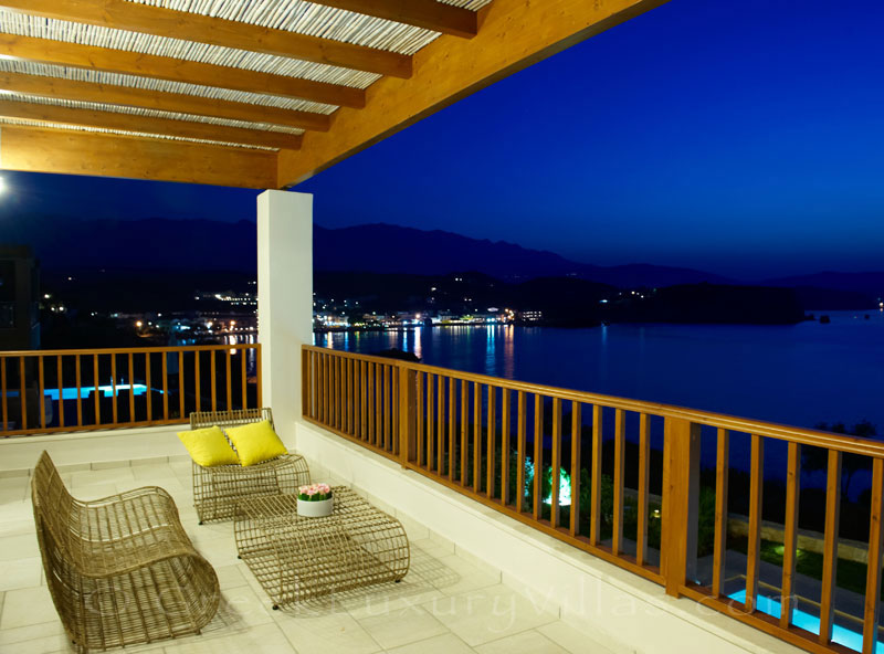 Balcony sea view of traditional style villa in Almyrida Crete