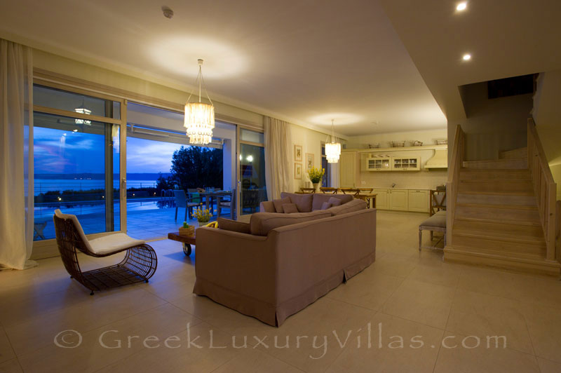 Living room sea view of island style seafront villa in Almyrida Crete