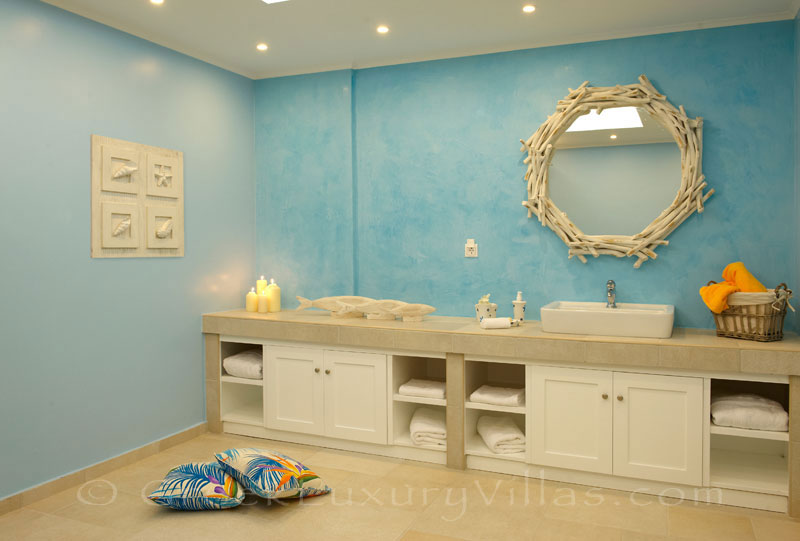 Bathroom of island style seafront villa in Almyrida Crete