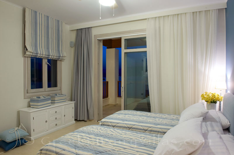Bedroom of traditional style seafront villa in Almyrida Crete