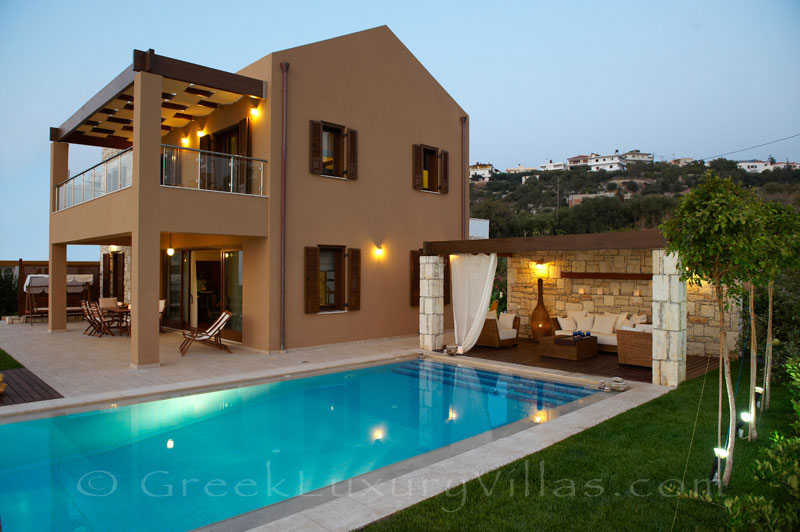 Traditional cretan style seafront villa with pool in Almyrida Crete