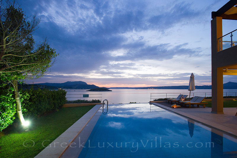 Sea view from the pool of traditional cretan style seafront villa in Almyrida Crete