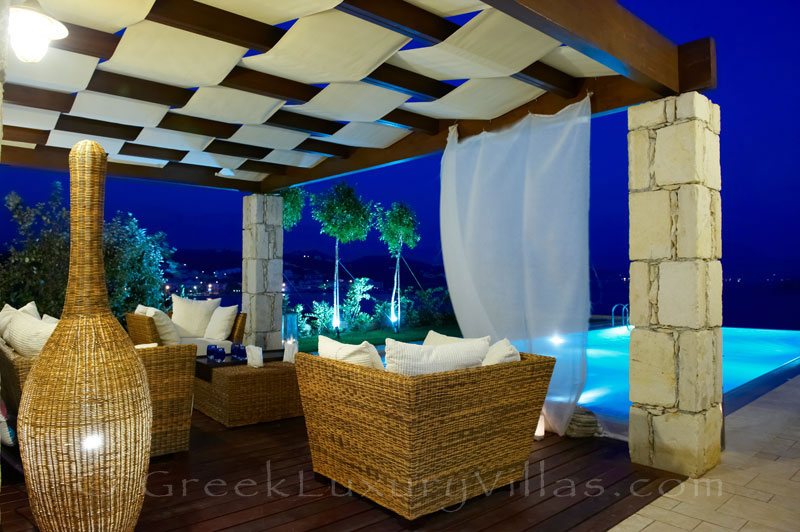 Outdoor lounge area of traditional cretan style seafront villa in Almyrida Crete