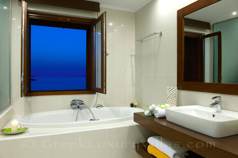 Bathroom of traditional cretan style seafront villa in Almyrida Crete