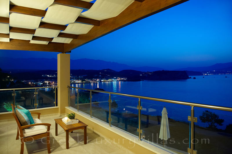 Balcony ocean view of traditional cretan style seafront villa in Almyrida Crete