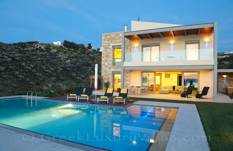 Luxury pool of seafront villa in Almyrida Crete