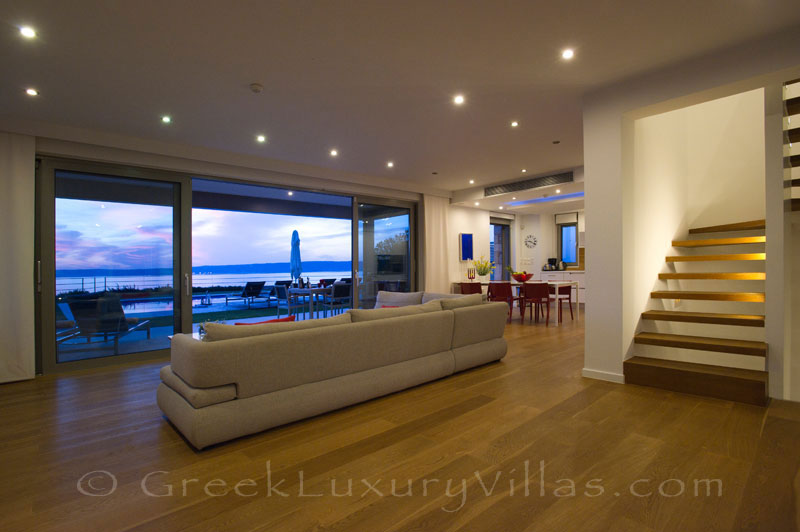 Interior of modern seafront villa in Almyrida Crete