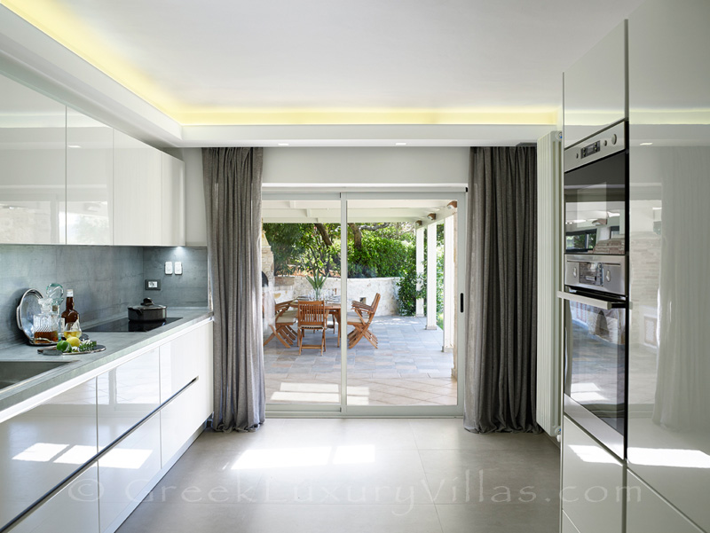 modern kitchen luxury villa Sivota bay