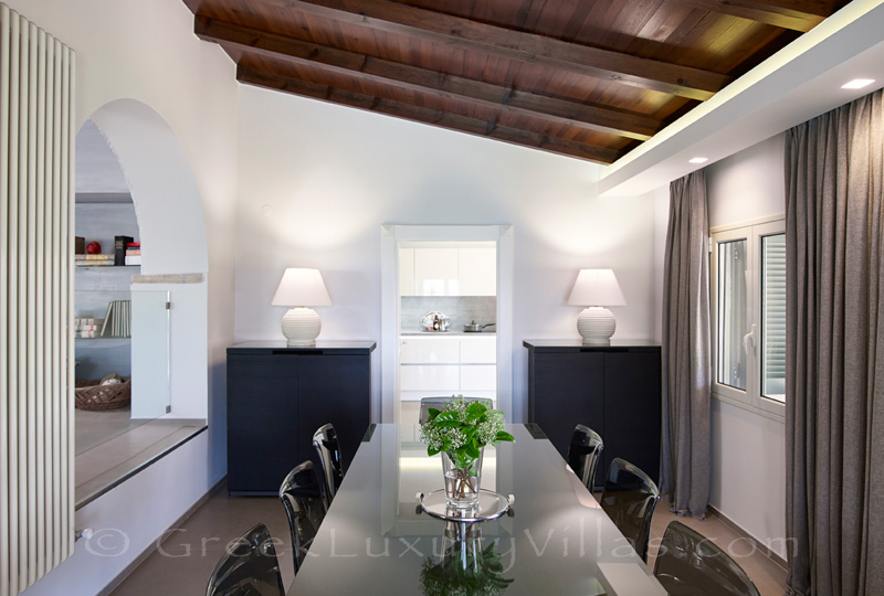 modern dining room of luxury villa in Sivota