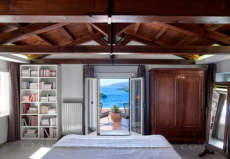 master bedroom with sea view overlooking Sivota