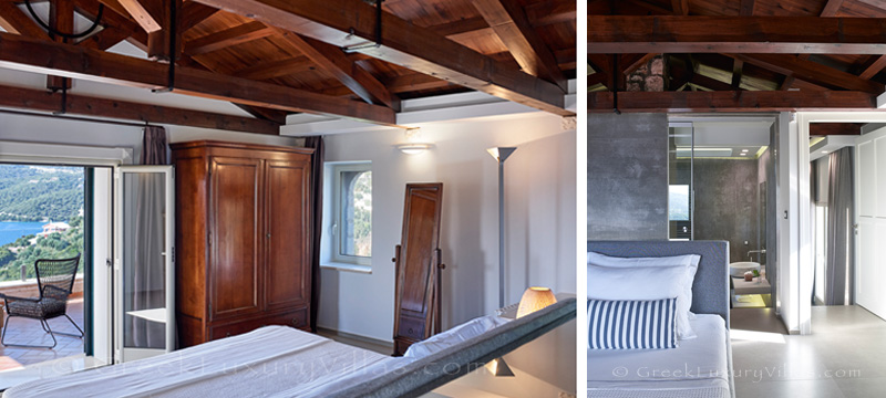 master bedroom with exclusive sea view over Sivota