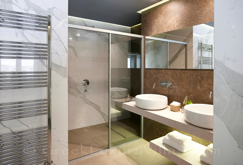 modern bathroom of luxury villa in Sivota