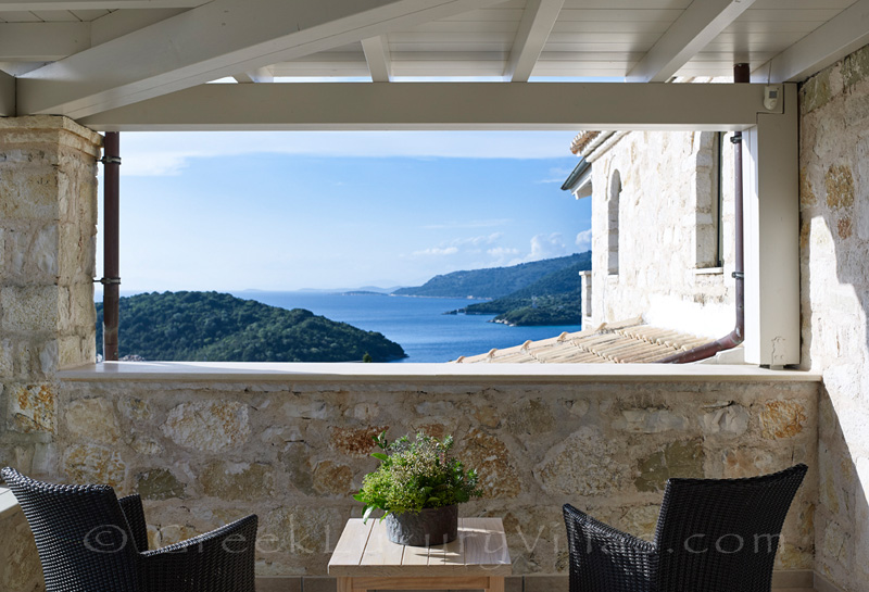 seaview from bedroom veranda overlooking Sivota