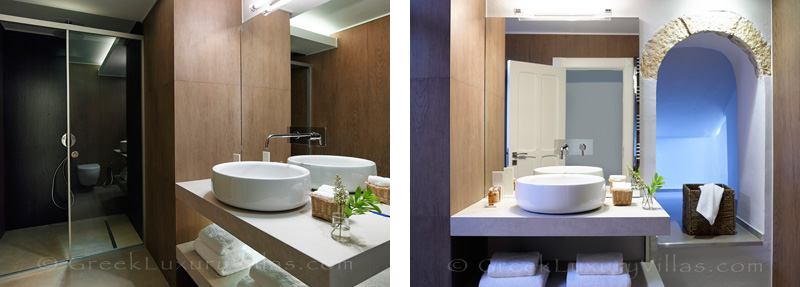 modern bathrooms of luxury villa near Sivota