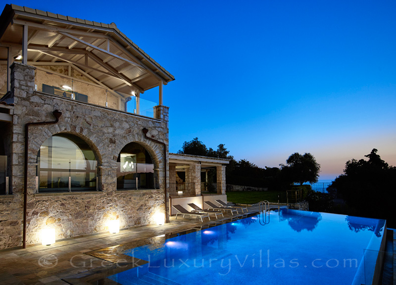 night falls at exclusive luxury villa in Sivota