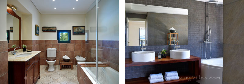 Bathrooms of the luxury villa with a heated pool in Sivota