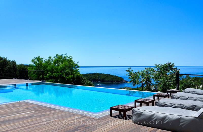 A luxury villa with a heated pool in Sivota