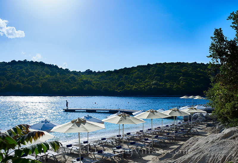 The beach of Sivota that is near the luxury villa with a heated pool