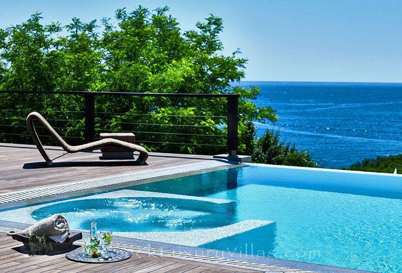 The view of the sea from a luxury villa with a heated pool in Sivota