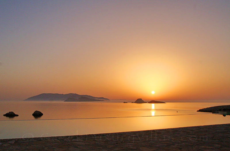 Sunrise at seafront villas with pool in Folegandros