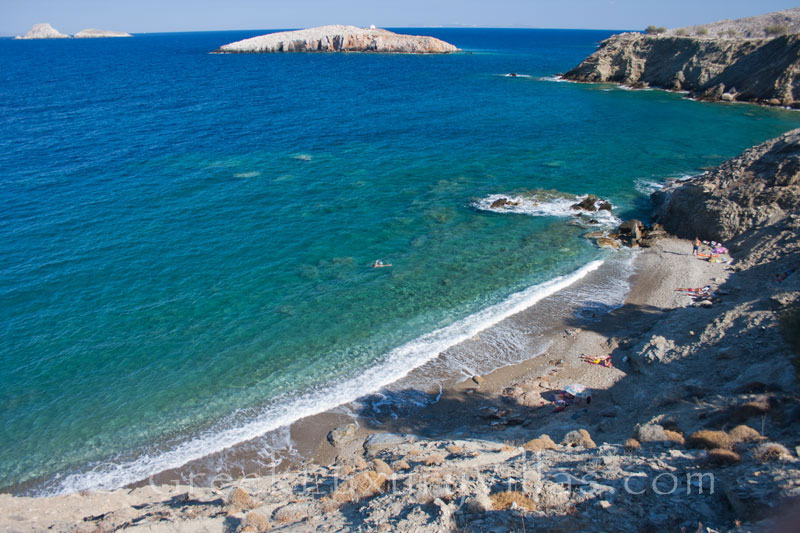 Beach below the seafront villas on Folegandros