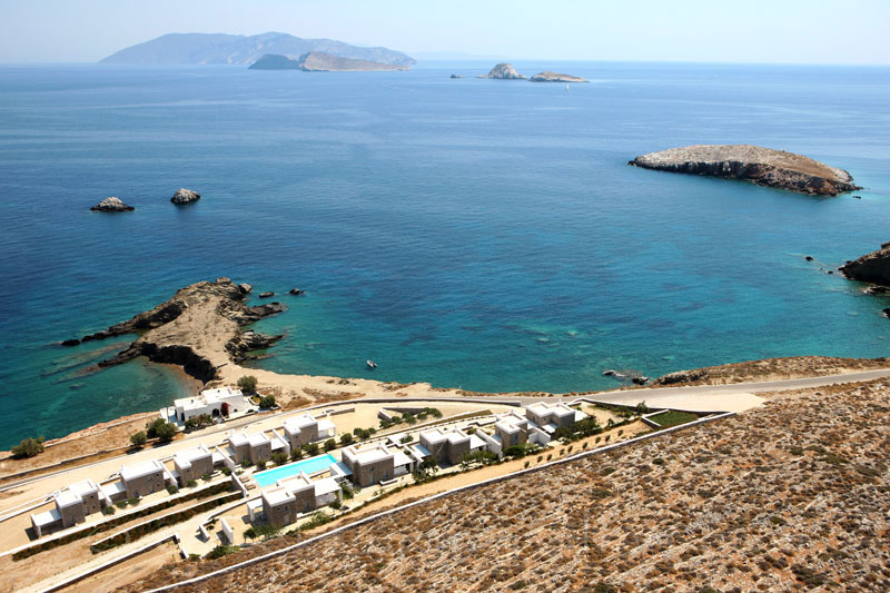 Aerial picture of seafront villas with pool in Folegandros