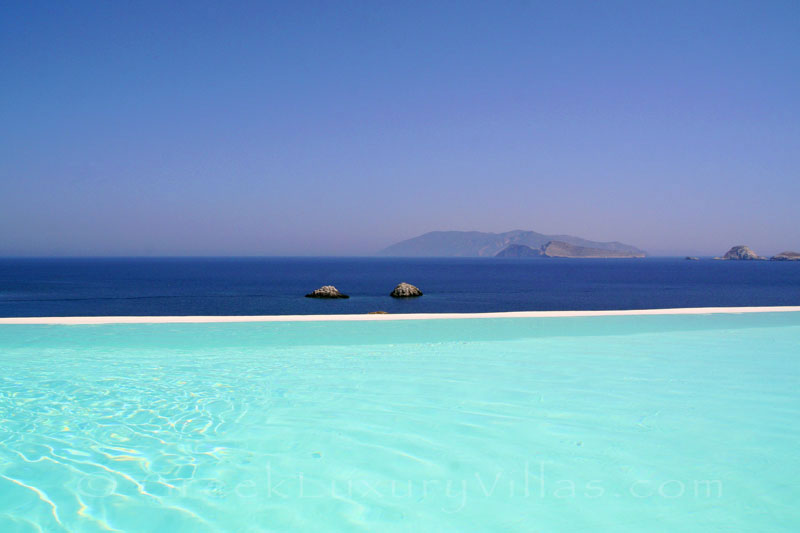 Sea view from the pool area in Folegandros villas